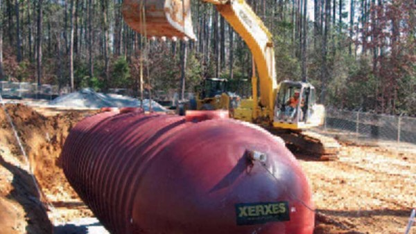 Installation of 30,000 gallon septic tank