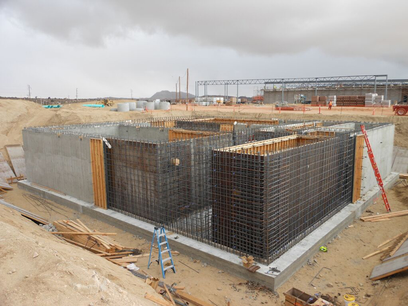 Treatment basin required over 900 cubic yards of concrete to construct
