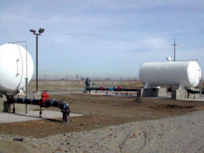 5,000 gallon wastewater storage and distribution tanks